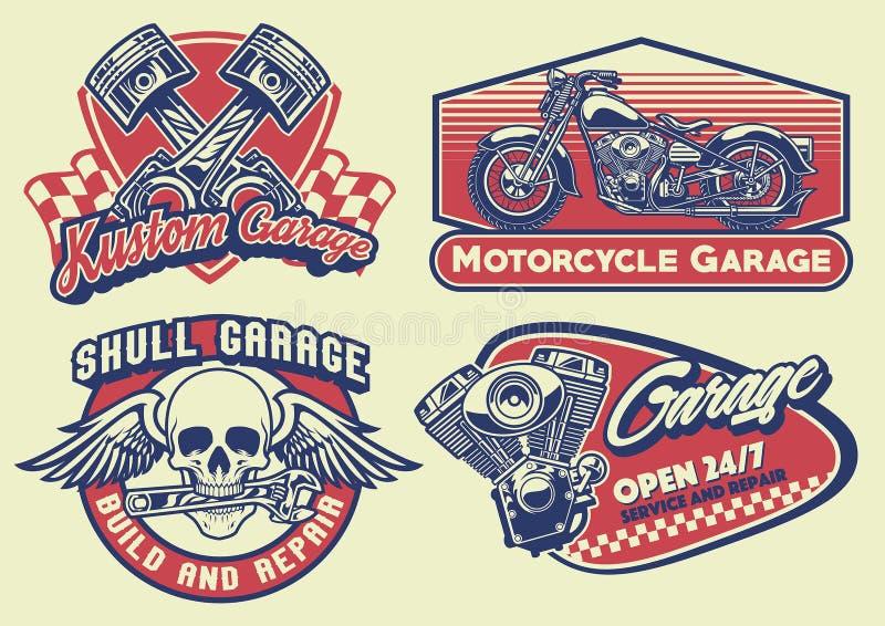 Reeks van de uitstekende motorfiets van het bagdeontwerp stock illustratie