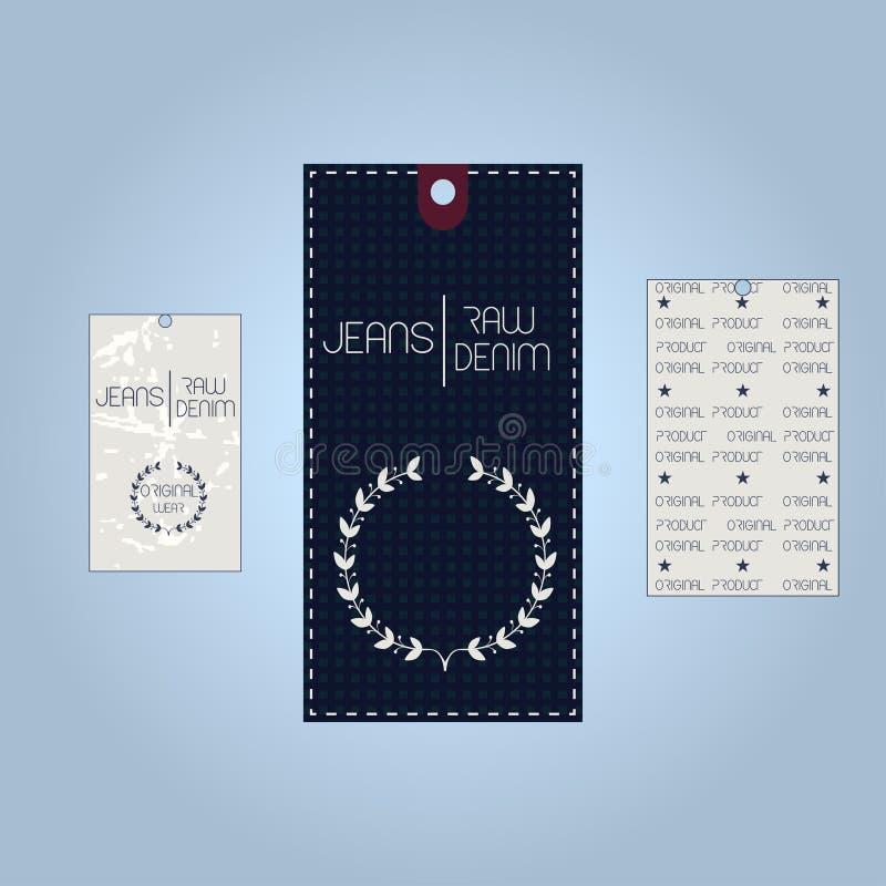 Reeks van de uitstekende typografie van denimetiketten T-shirtgrafiek stock illustratie