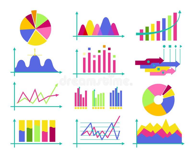 Reeks van de van het bedrijfs kleuren vector vlakke ontwerp de elementenbedelaars gegevensmarkt royalty-vrije illustratie