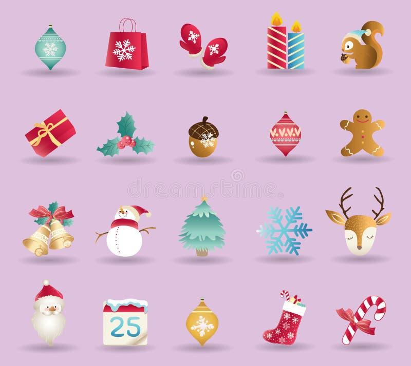Reeks van de vector van Kerstmispictogrammen vector illustratie