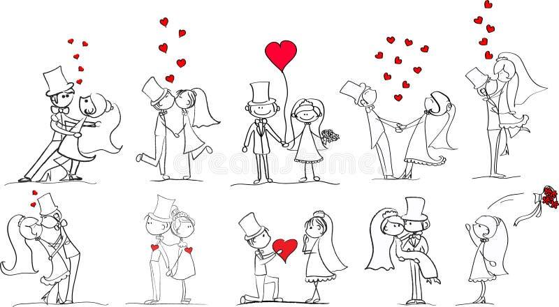 Reeks van de vector van huwelijksbeelden vector illustratie