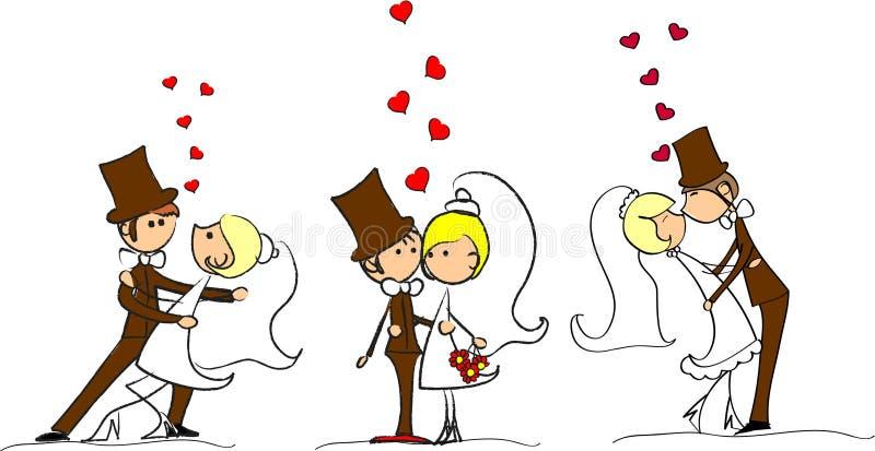 Reeks van de vector van huwelijksbeelden royalty-vrije illustratie
