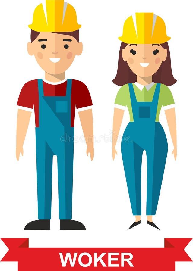 Reeks van de vectorarbeidersmens en arbeidersvrouw royalty-vrije illustratie
