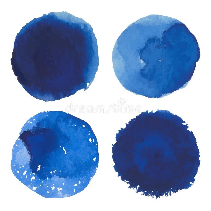Reeks van de vectorbanner van de waterverf blauwe vlek royalty-vrije illustratie