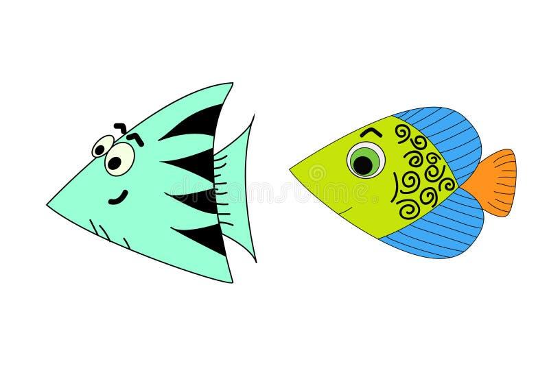 Reeks van de vectorillustratie van beeldverhaalvissen op een witte achtergrond stock illustratie