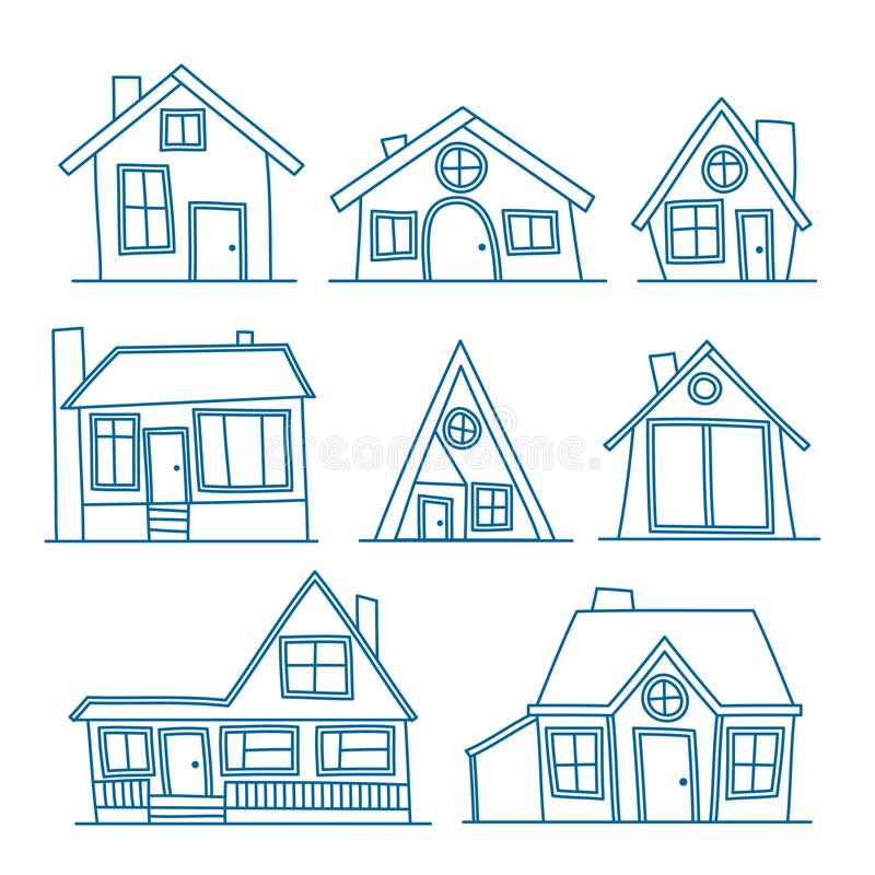 Reeks van de Vectorillustratie van de lijnkunst van koel gedetailleerd die huispictogram op witte achtergrond wordt geïsoleerd Vo royalty-vrije illustratie