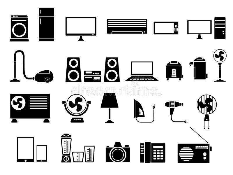 Reeks van de Vectorillustratie van het Elektronikapictogram royalty-vrije illustratie