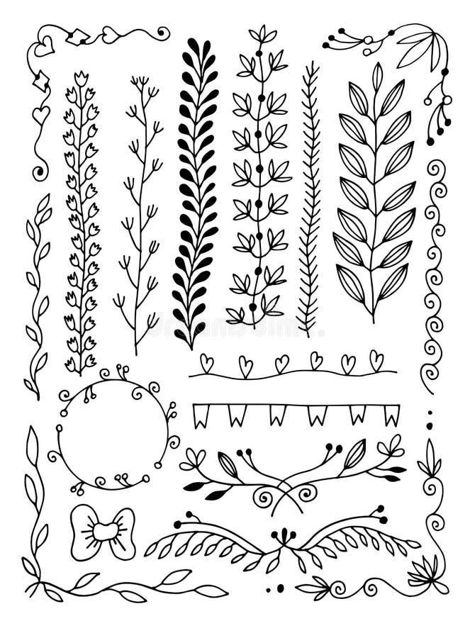 Reeks van de verdeler van de de krabbelpagina van de handtekening, grens, hoek in krabbel bloemenstijl stock illustratie
