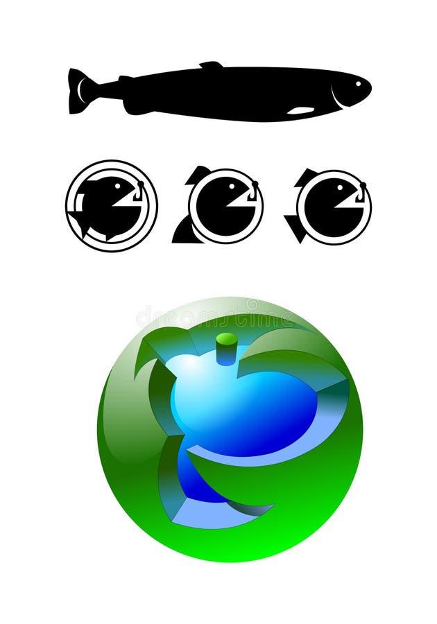 Reeks van de visserij van pictogrammen voor websites vector illustratie