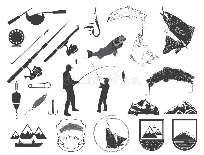 Reeks van de visserij van pictogrammen en pictogrammen stock illustratie