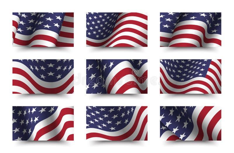 Reeks van de vlag van achtergrond Amerika inzameling Het golven ontwerp Verhouding 16: 9 vierde van juli-het concept van de Onafh royalty-vrije illustratie
