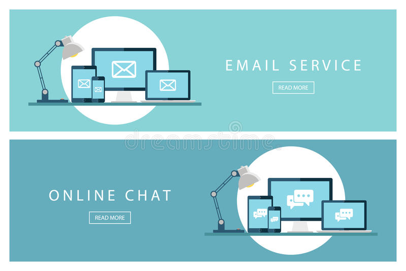 Reeks van de vlakke e-maildienst van ontwerpconcepten en Online praatje Banners voor Webontwerp, marketing en bevordering royalty-vrije illustratie