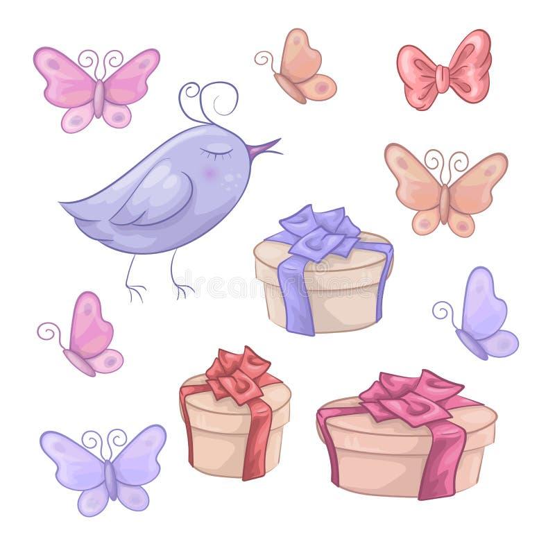 Reeks van de vlinder en het vogeltje van verjaardagsgiften royalty-vrije illustratie