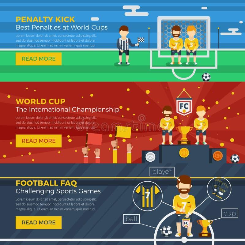 Reeks van de voetbal de Horizontale Banner vector illustratie