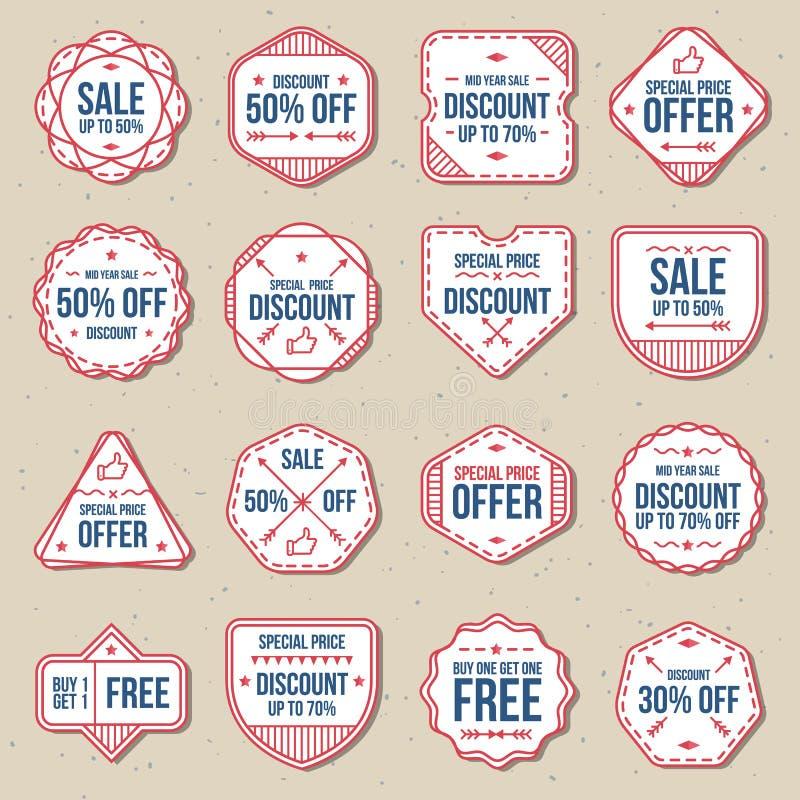 Reeks van de vrije etiketten van de kortingsverkoop, banner en kentekens vectorreeks stock illustratie