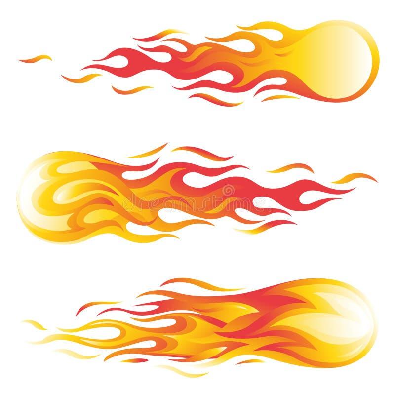 Reeks van de vuurbol de vectordieillustratie op witte achtergrond wordt geïsoleerd stock illustratie