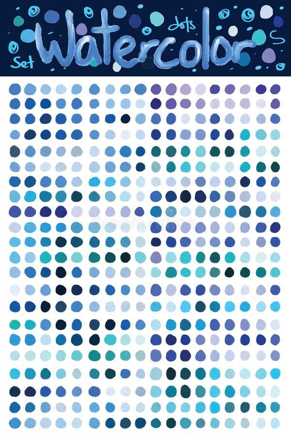 Reeks van de waterverf de blauwe punt royalty-vrije illustratie