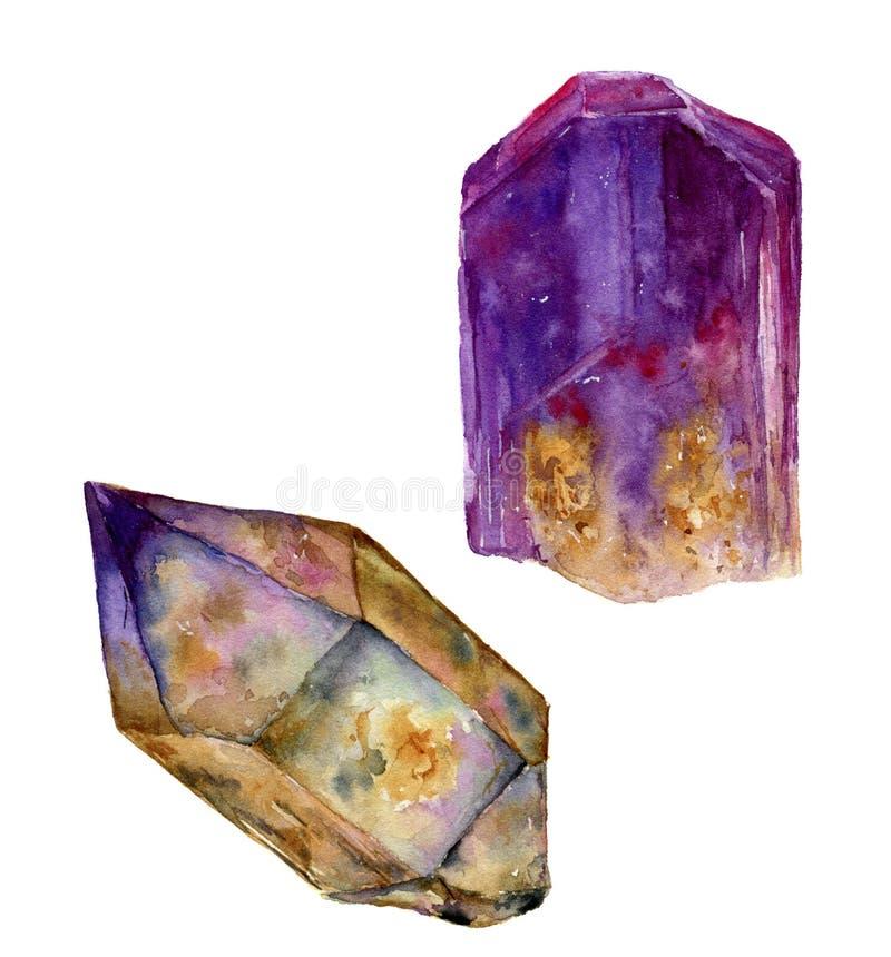 Reeks van de waterverf de violette gem Amethist en rauchtopaz stenen op witte achtergrond wordt geïsoleerd die Voor ontwerp, druk vector illustratie
