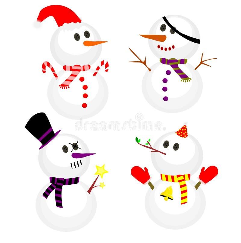 Reeks van de wintersneeuwman, Inzameling van sneeuwmannen in verschillende kostuums vector illustratie