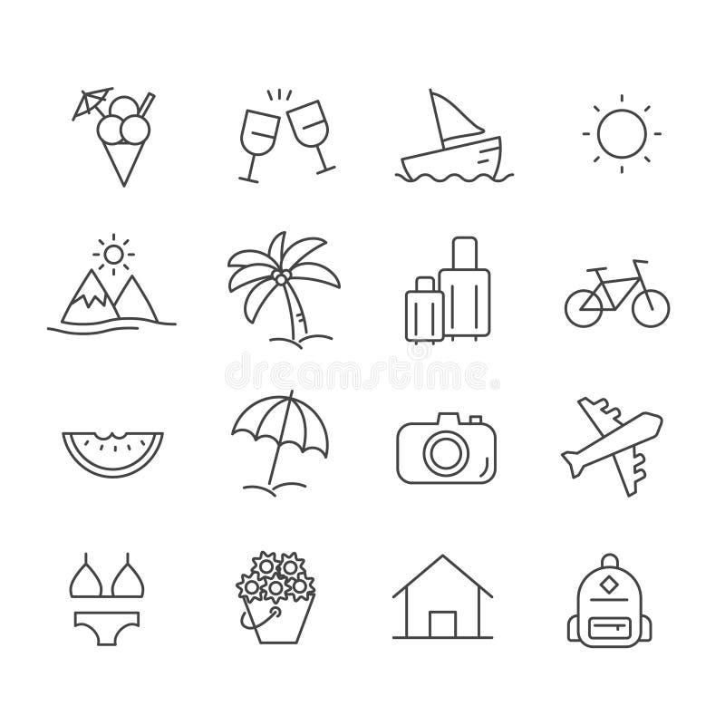 Reeks van de zomervakantie op de strandpictogrammen Het overzicht van het reisconcept dat op witte achtergrond wordt ge?soleerd royalty-vrije illustratie