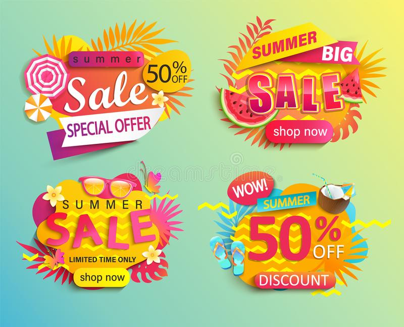 Reeks van de zomerverkoop en kortingen stickers royalty-vrije illustratie