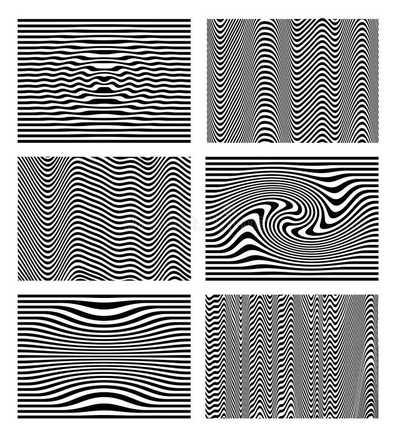 Reeks van de zwart-witte optische samenvatting van de golfstreep De achtergrond van het ontwerp Gebogen lijnen Vector illustratie vector illustratie