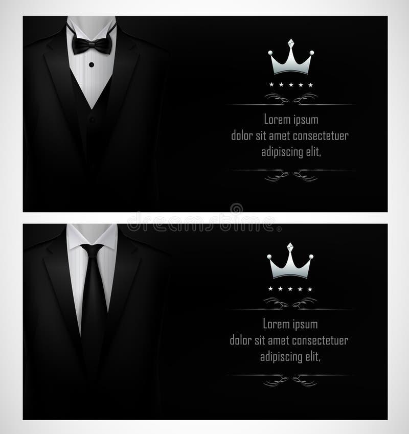 Reeks van de Zwarte malplaatjes van het smokingadreskaartje met mensen` s kostuums en plaats voor tekst royalty-vrije illustratie