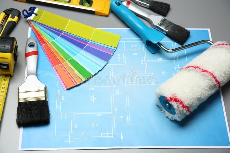Reeks van decorateur` s hulpmiddelen en projecttekening royalty-vrije illustratie