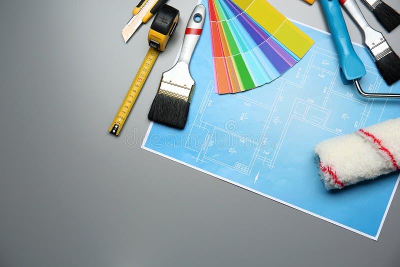 Reeks van decorateur` s hulpmiddelen en projecttekening stock illustratie