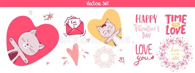 Reeks van decoratie, van letters voorziende elementen voor valentijnskaartdag, vectorillustratie leuke kat, harten Naadloze bloem royalty-vrije illustratie