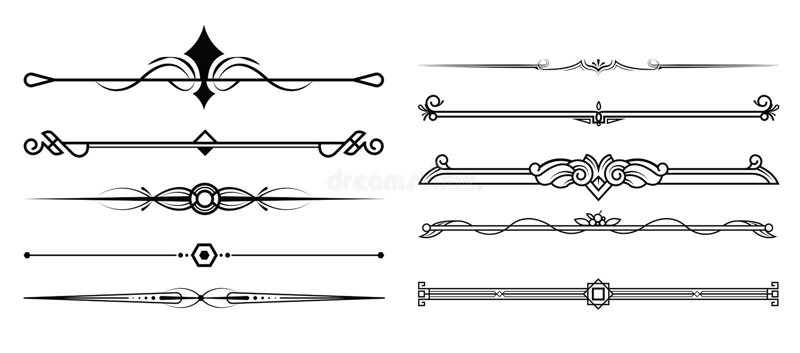 Reeks van decoratief elementen, grens en paginaregelskader vector illustratie