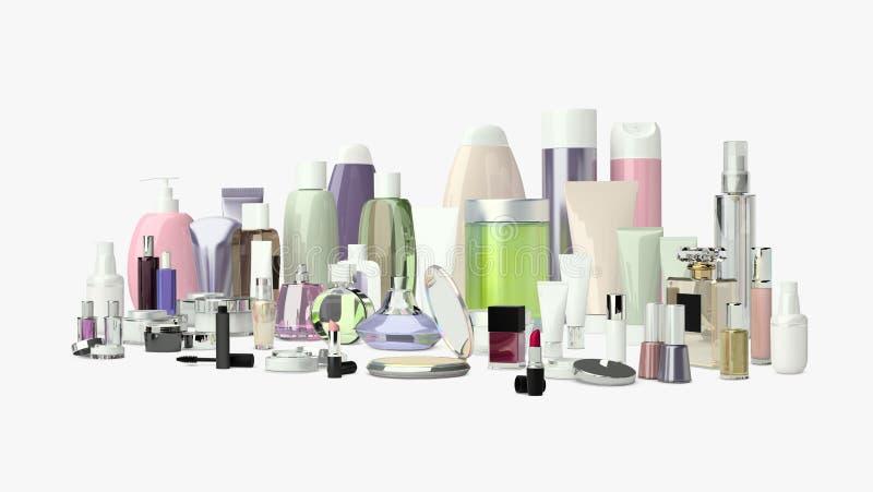 Reeks van decoratief schoonheidsmiddel Poeder, camouflagestift, oogschaduwborstel, vector illustratie