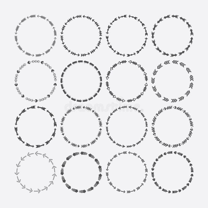 Reeks van decoratieve cirkelgrens, de patronen van het pijlensymbool en ontwerpelementen royalty-vrije illustratie