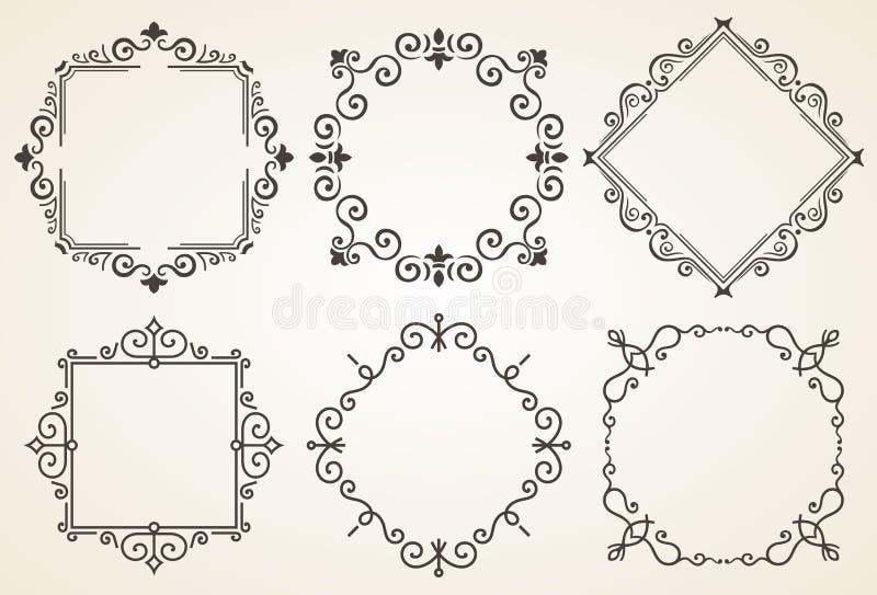 Reeks van decoratieve kaders vectorillustratie Het elegante kader van de luxe uitstekende kalligrafie Malplaatje voor groetkaart royalty-vrije illustratie