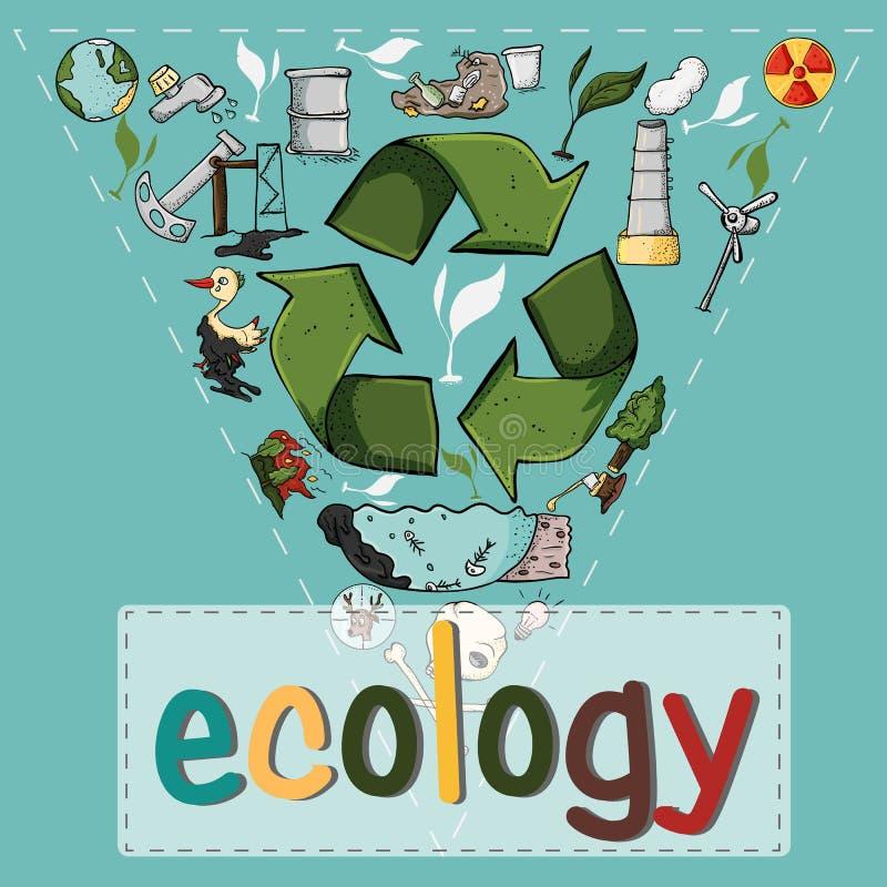 Reeks van design_4_elements op het thema van de verontreiniging van de ecologieaarde vector illustratie