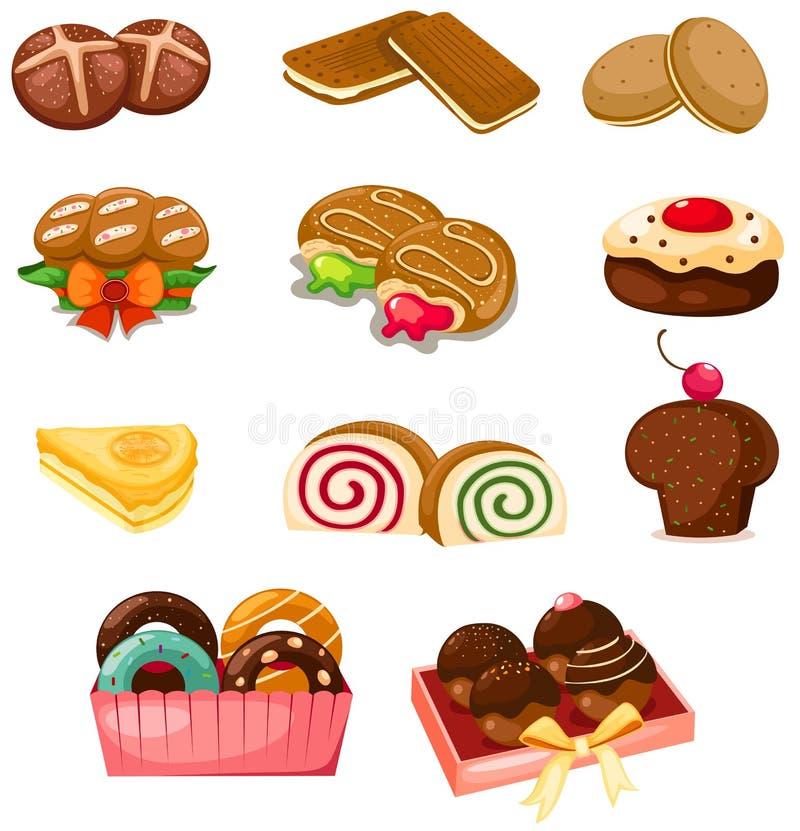 Reeks van dessert vector illustratie