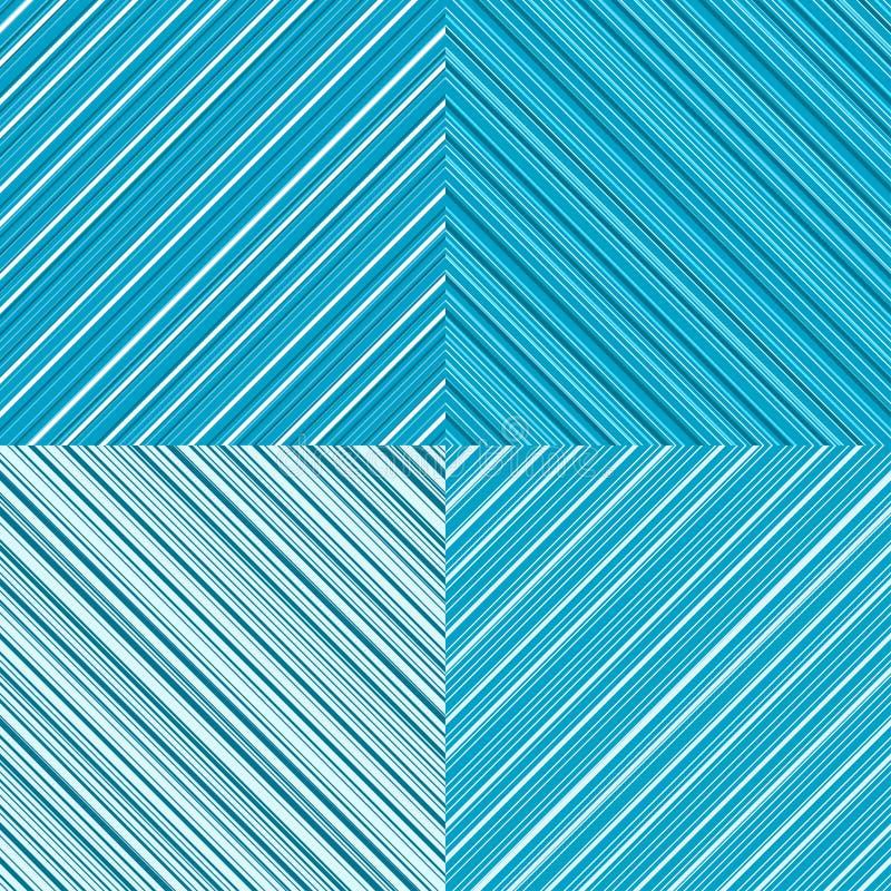Reeks van 4 diagonale lijnen blauwe achtergronden stock illustratie