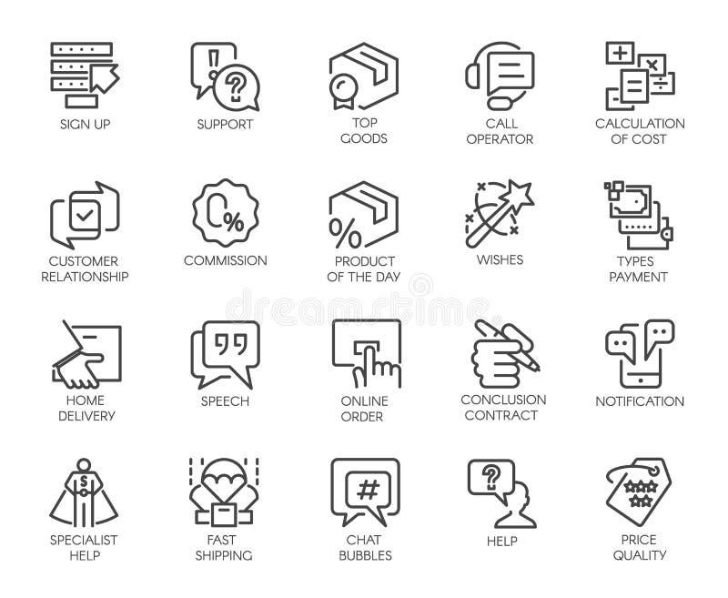 Reeks van 20 die lijnpictogrammen op bedrijfsthema wordt geïsoleerd Marketing, handel en de hoge symbolen van de klantendienst vector illustratie