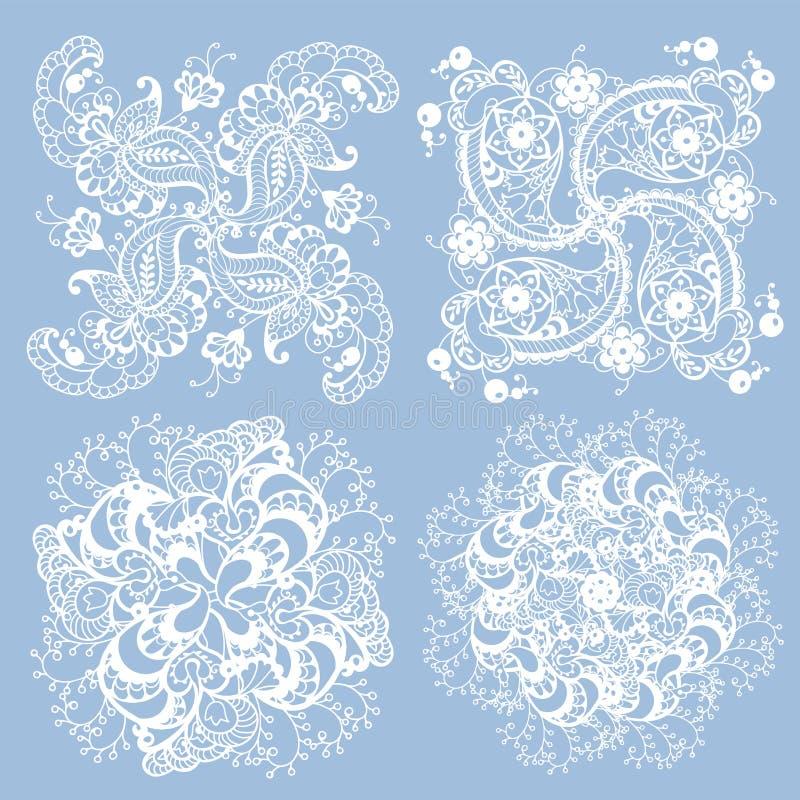 Reeks van 3 die patroonelementen in het breien servetstijl worden gemaakt in whit royalty-vrije illustratie