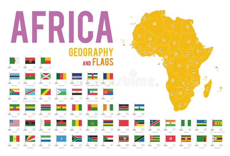 Reeks van 54 die vlaggen van Afrika op witte achtergrond en kaart van Afrika wordt geïsoleerd royalty-vrije illustratie