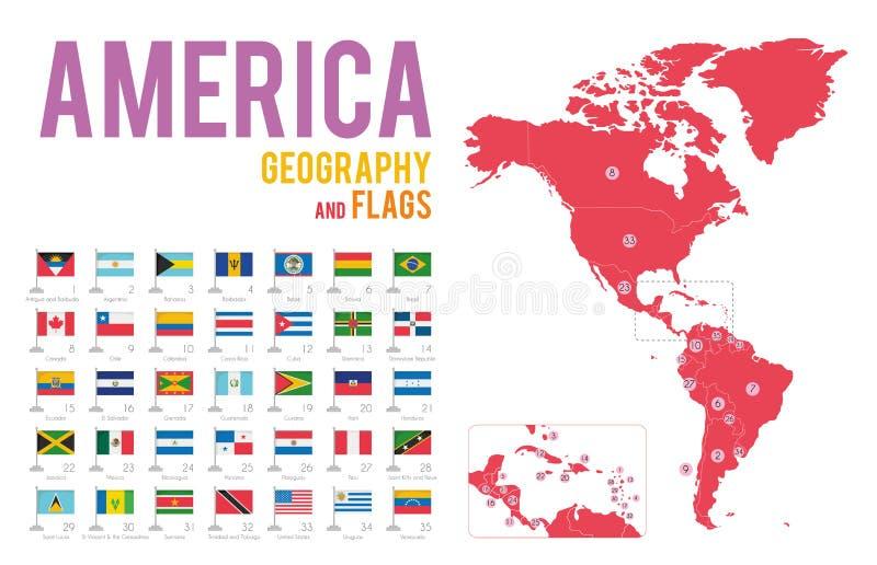 Reeks van 35 die vlaggen van Amerika op witte achtergrond en kaart van Amerika wordt geïsoleerd royalty-vrije illustratie