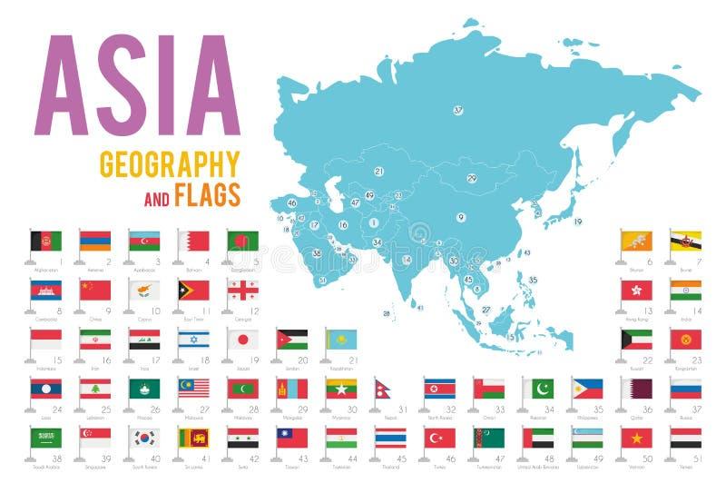 Reeks van 51 die vlaggen van Azië op witte achtergrond en kaart van Azië wordt geïsoleerd royalty-vrije illustratie