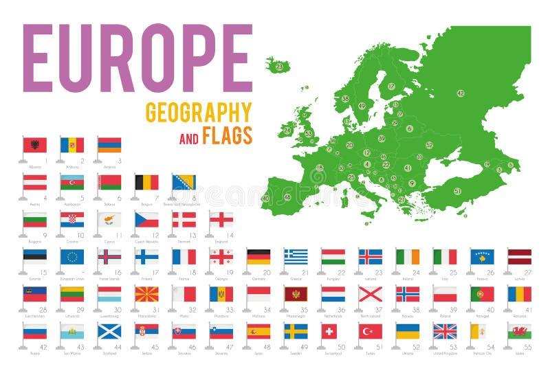 Reeks van 56 die vlaggen van Europa op witte achtergrond en kaart van Europa wordt geïsoleerd vector illustratie