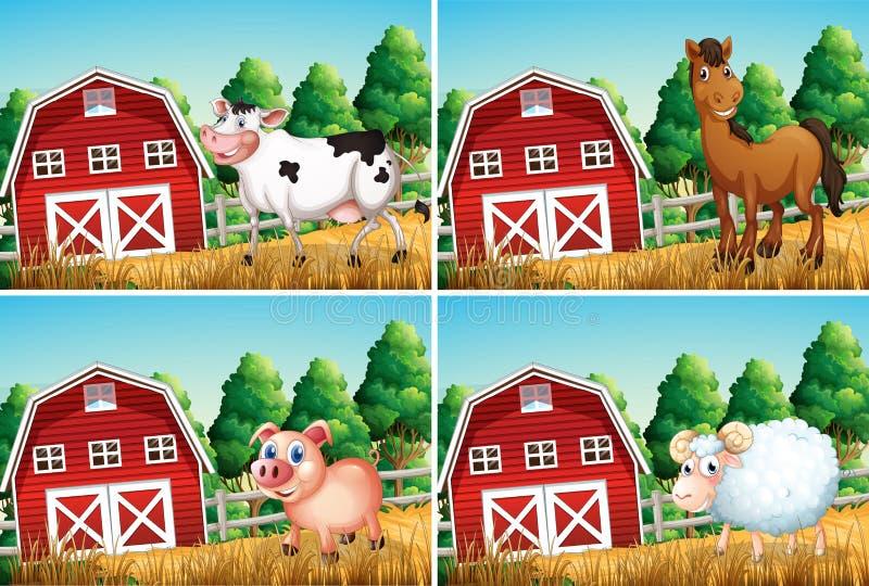 Reeks van dier bij landbouwbedrijf royalty-vrije illustratie