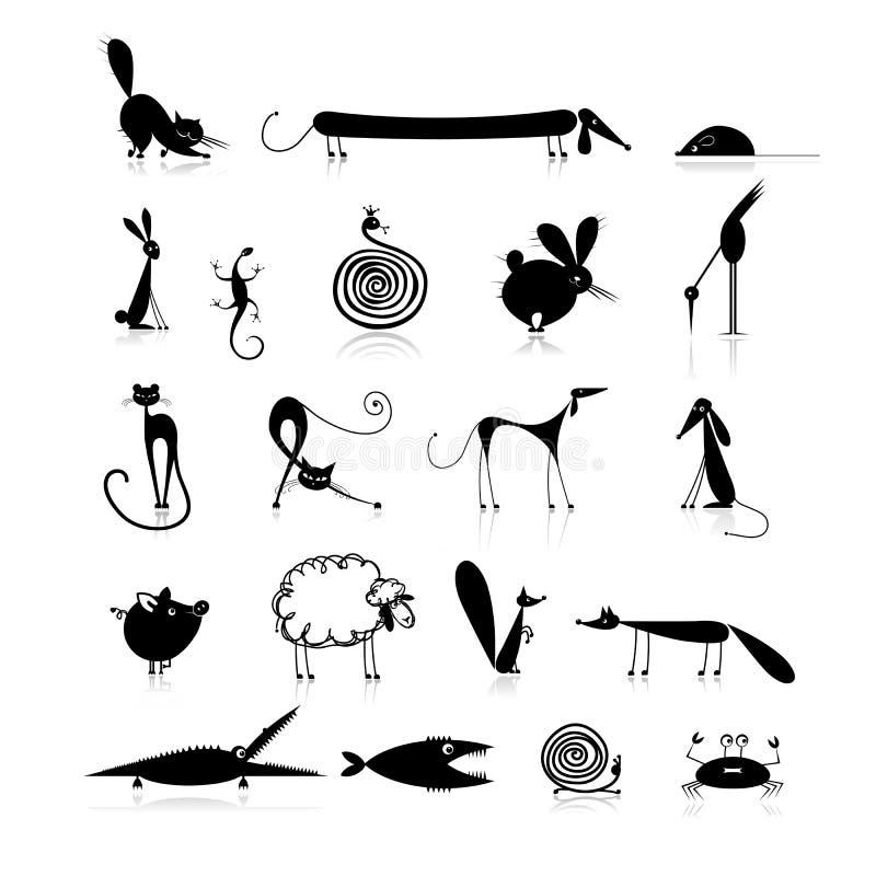 Reeks van 20 dieren, zwart silhouet voor uw stock illustratie