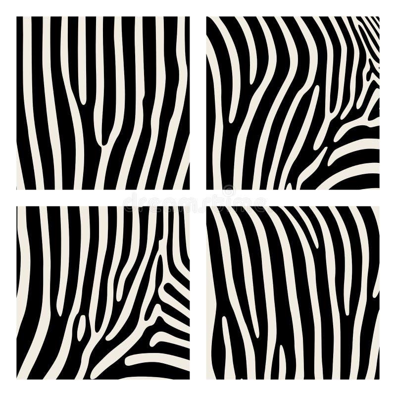 Reeks van dierlijk patroon Imitatiedruk van huid van zebra Zwarte strepen op grijze achtergrond stock illustratie