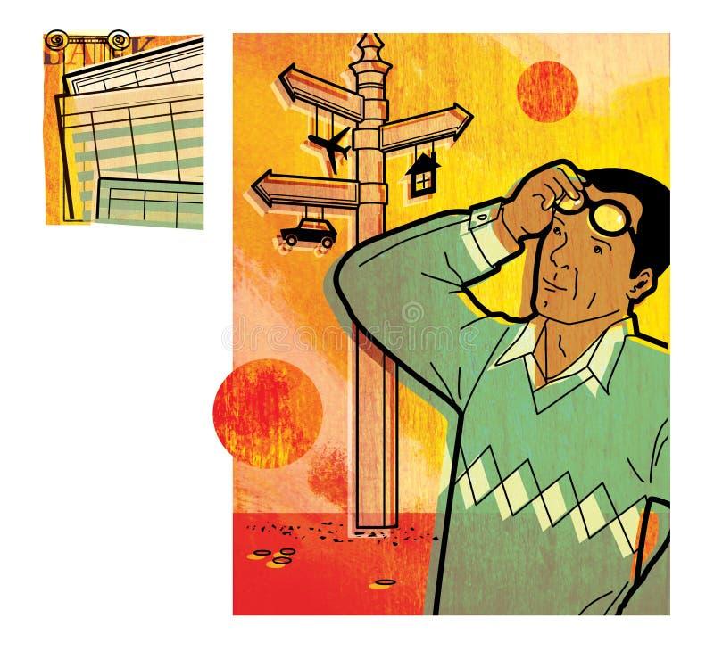Reeks van digitale illustratie twee op het thema van het investeren Een mens bekijkt zorgvuldig van wegwijzers voorziet met de te vector illustratie