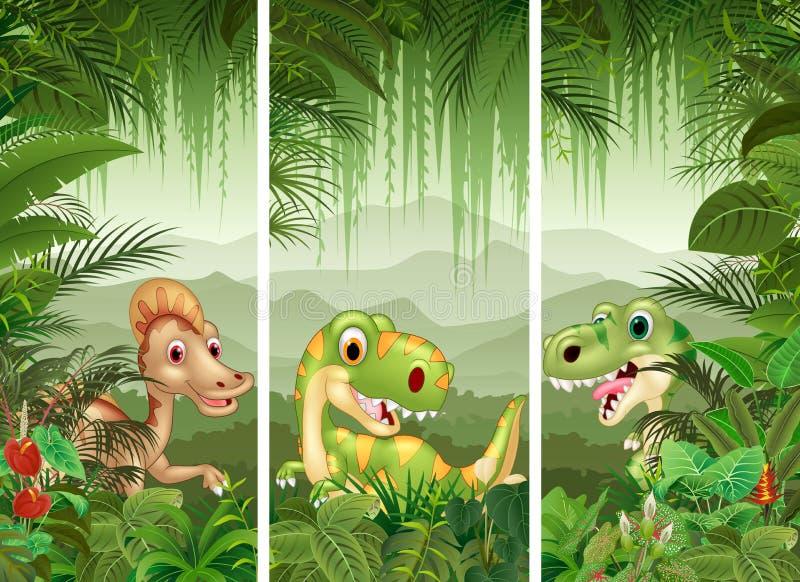 Reeks van dinosaurus met tropische bosachtergrond vector illustratie