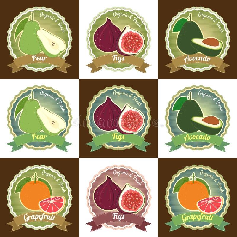 Reeks van divers verse vruchten stic kenteken van het de markeringsetiket van de premiekwaliteit stock illustratie