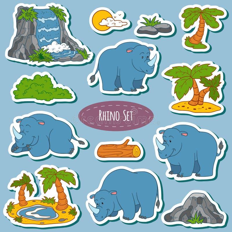Reeks van diverse leuke rinoceros, vectorstickers van dieren stock illustratie